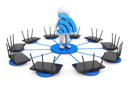 routers: Routers around 3d Person with Wi-Fi sign on a white background