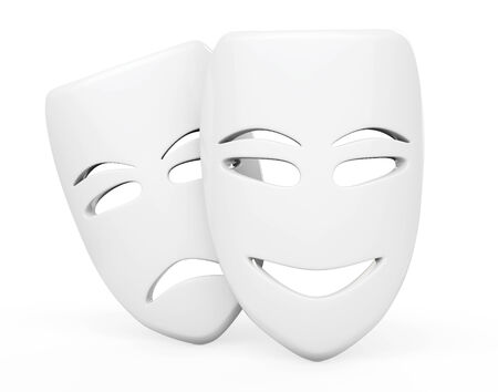 sullen: Tragicomic Theater Masks. Sad and Smile masks on a white background
