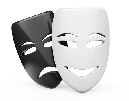 theater masks: Tragicomic Theater Masks. Sad and Smile masks on a white background