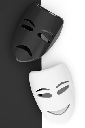 sullen: Tragicomic Theater Masks. Sad and Smile masks on a white and black background