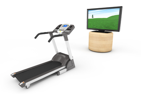 treadmill: Treadmill Machins with TV on a white background