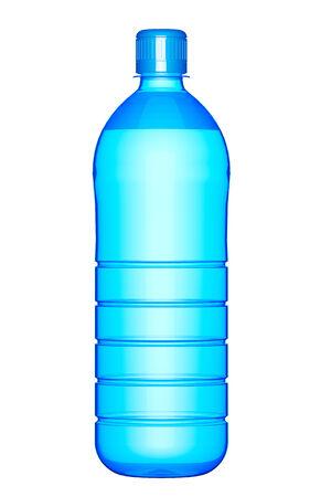 agua purificada: Botella de pl�stico de agua potable en un fondo blanco Foto de archivo