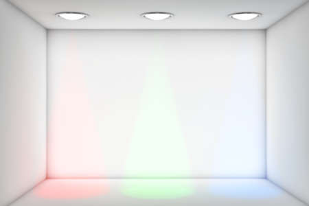 show window: Extreme Closeup White room with RGB Lights for exhibition Stock Photo