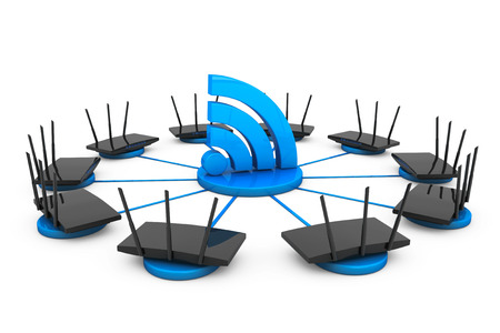 routers: Routers around Wi-Fi sign on a white background Stock Photo