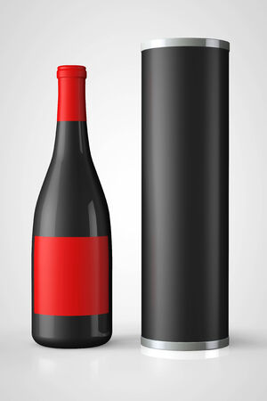 unopened: Back Bottle of Red Wine with Package on a white background