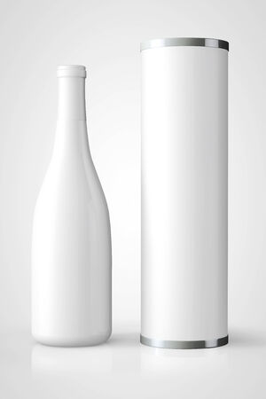 alcohol bottles: Bottle of Wine with Package on a white background