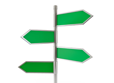 green arrow: Green arrow road signs on a white background Stock Photo