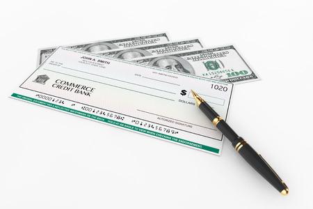 Blank Banking Vérifier et Fountain Pen avec Dollars projets de loi sur un fond blanc Banque d'images - 35981522