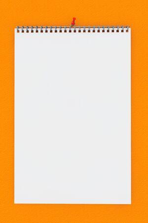 Blank calendario de pared con la primavera en una pared de color naranja Foto de archivo - 35981531