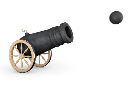 Old Pirate Cannon on a white background photo