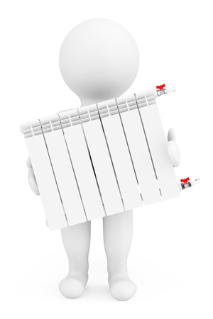 economizing: Modern Heating Radiator with 3d Person on a white background