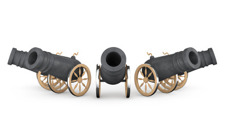 Old Pirate Cannons on a white background photo