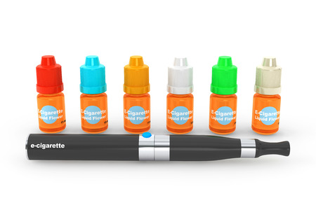 purported: Electronic Cigarette with flavor bottles on a white background