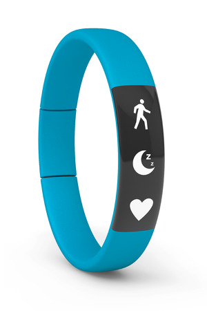 bpm: Blue Fitness Tracker on a white background