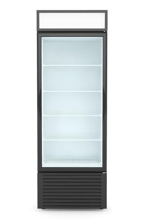 白い背景の上のガラス扉付け冷蔵庫ドリンク