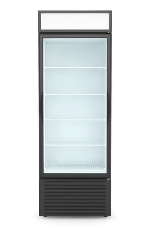 refrigerator with food: Fridge Drink with glass door on a white background