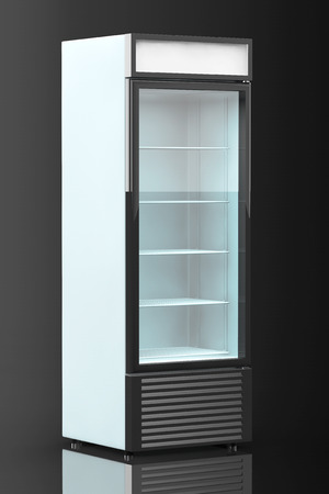 Fridge Drink with glass door on a black background photo