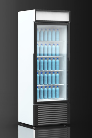 fridge: Fridge Drink with water bottles on a black background