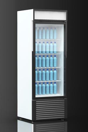 nevera: Nevera bebida con botellas de agua sobre un fondo negro