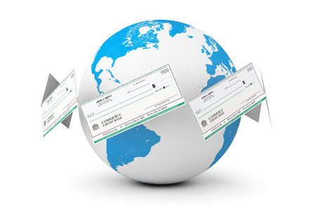 chequebook: Banking Checks around Earth Globe on a white background Stock Photo