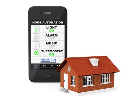domotique: Domotique Concept. T�l�phone mobile et maison sur un fond blanc