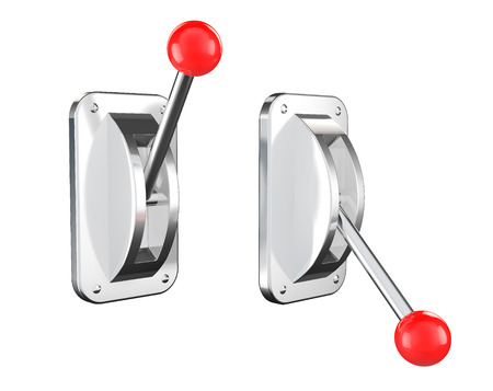 On and Off Toggle Switch set on white background
