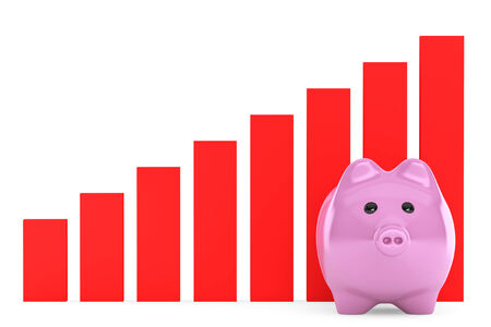 Piggy Bank with Red Graphic on a white background photo