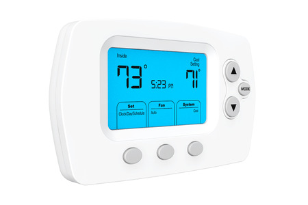 cold air: Modern Programming Thermostat on a white background