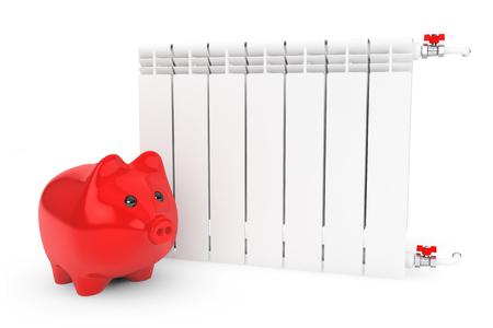 economizing: Modern Heating Radiator with Piggy Bank on a white background Stock Photo
