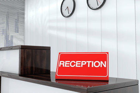 sign plate: Reception Sign Plate on Wooden Reception Desk