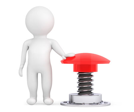 3d Person with Red Button on a white background photo
