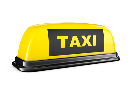 yellow taxi: Yellow Taxi Car Roof Sign on a white background