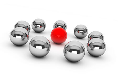 red sphere: leadership Concept. Chrome spheres around red sphere on a white background