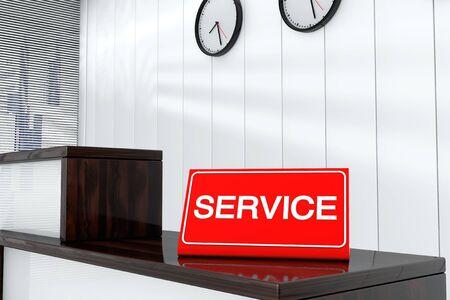 service desk: Service Sign Plate on Wooden Service Desk Stock Photo