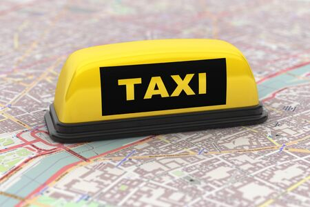 Yellow Taxi Car Roof Sign over city map