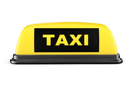 Yellow Taxi Car Roof Sign on a white background photo