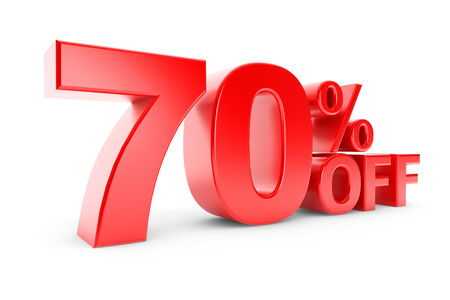 70: 70 percent discount on a white background