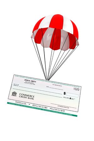 fallschirm: Bankscheck mit-Fallschirm auf einem wei�en hintergrund