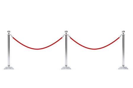 velvet rope barrier: Closeup Barrier rope on a white background