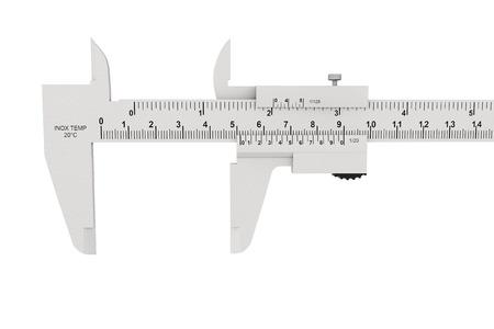 Metal vernier caliper on a white background Stock Photo