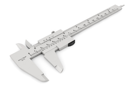 vernier caliper: Metal vernier caliper on a white background Stock Photo