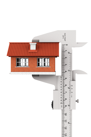 caliper: Caliper Measures House Building on a white background Stock Photo