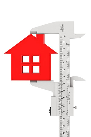 measures white house: Caliper Measures House Building on a white background Stock Photo