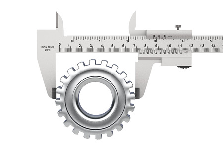 caliper: Metal Vernier Caliper with Gear Wheel on a white background