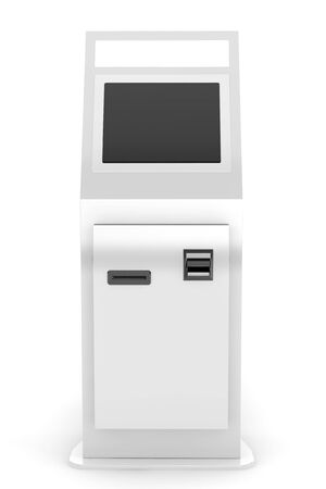 electronic background: Electronic Pay Terminal on a white background Stock Photo
