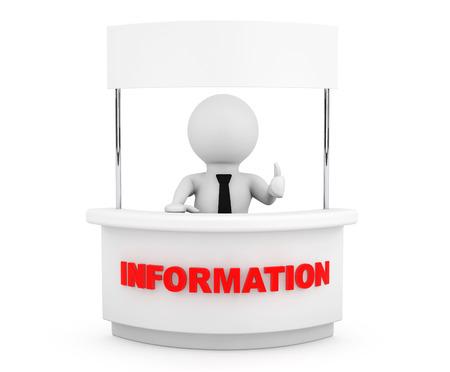 Person mit Blank Informationsstand auf weißem Hintergrund Standard-Bild