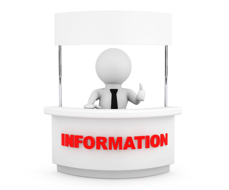 Person with Blank Information Stand on a white background photo
