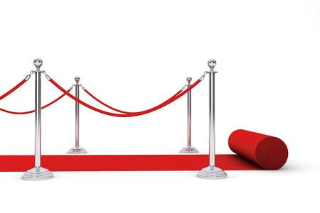 レッド カーペットと白い背景の上の障壁ロープ 写真素材