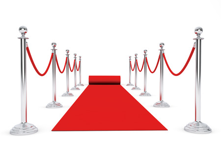 red carpet event: Red Carpet and Barrier Rope on a white background