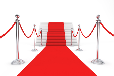 barrier rope: Red Carpet and Barrier Rope on a white background